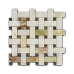 Basket Weave  Verde Onix + Rain Forest Green Мозаика Marble Mosaic