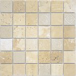 Art Travertino beige MAT 48x48x8 Мозаика Caramelle mosaic Art Stone