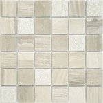 Art Travertino silver MAT 48x48x8 Мозаика Caramelle mosaic Art Stone
